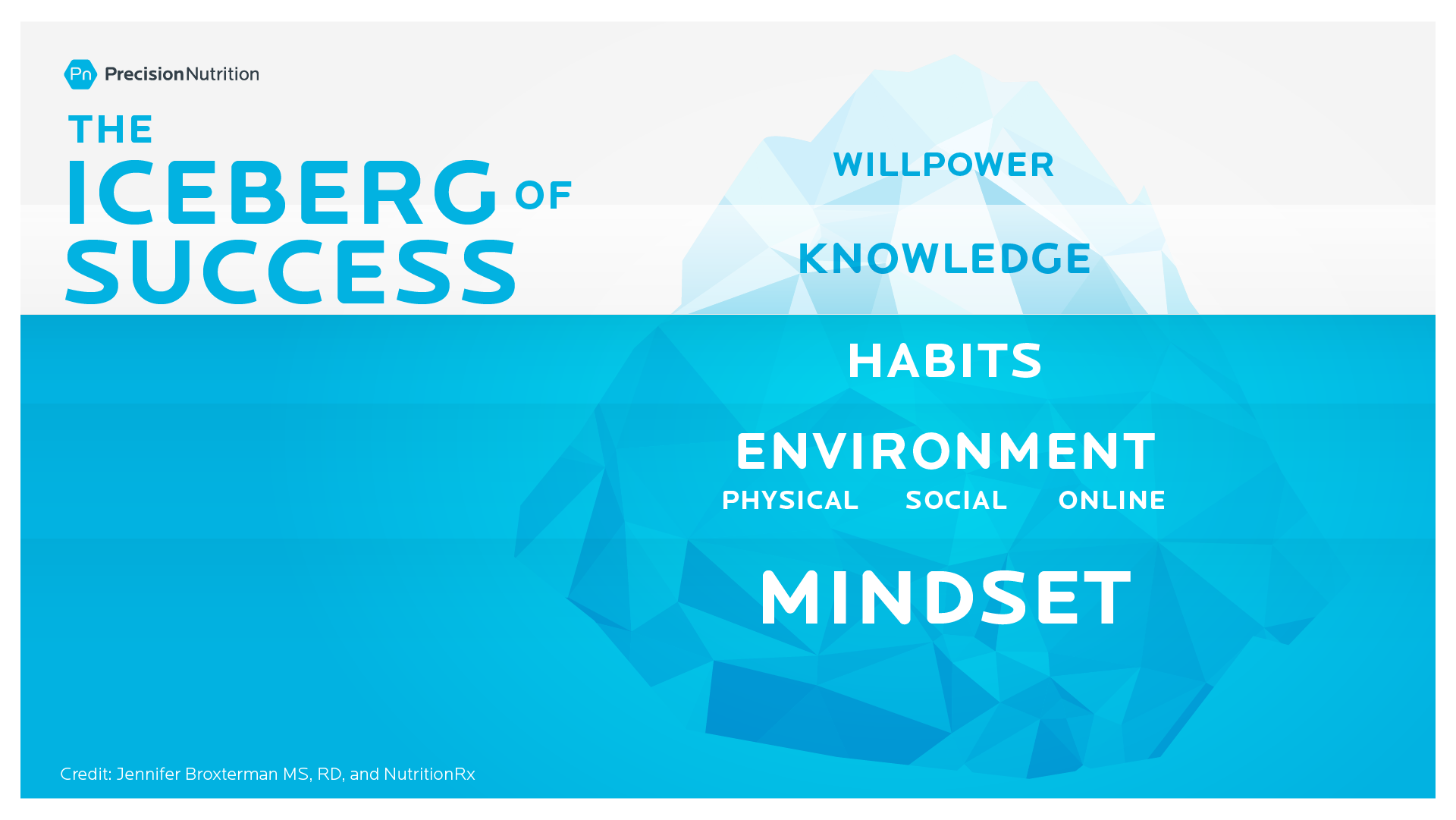 An illustration of the iceberg of success. Mindset, environment, habits are below the water and knowledge and willpower are above the water.
