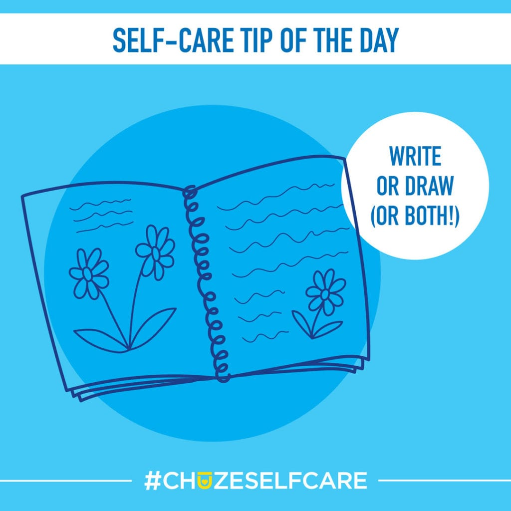 """A blue illustration that says, """"Self Care Tip Of The Day, write or draw (or both)!"""""""