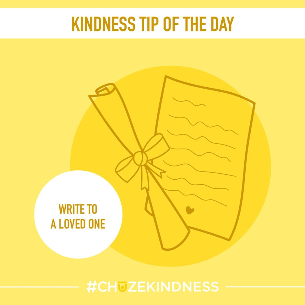 """Yellow Kindness Tip Of The Day graphic with a piece of paper and writing on it that says, """"Write to a loved one."""""""