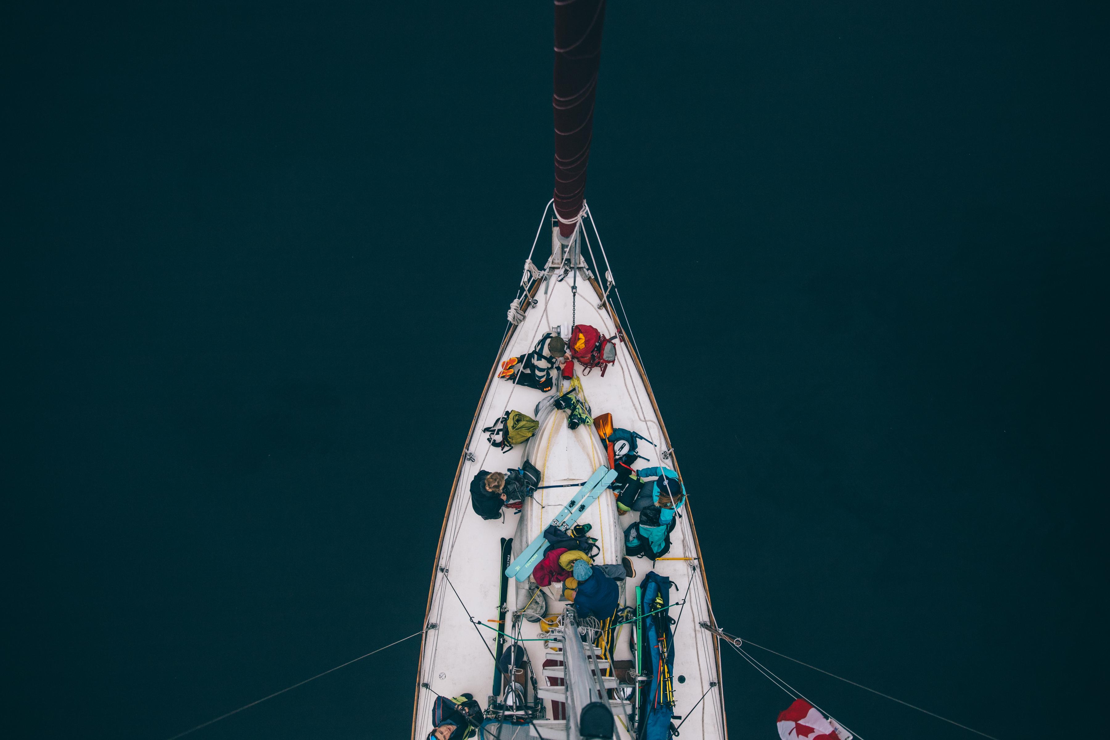 Preparing gear on the boat