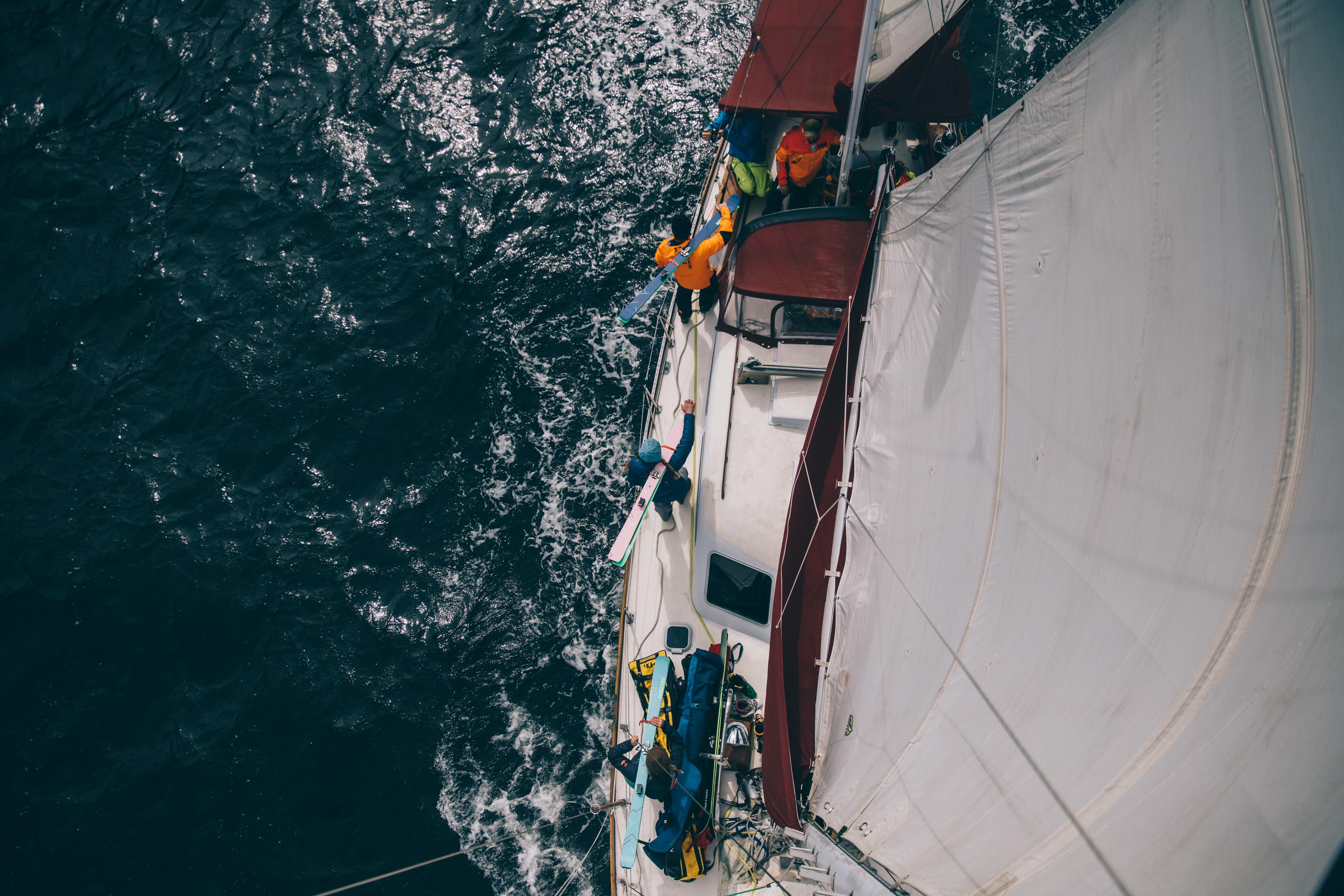 Preparing skis onboard