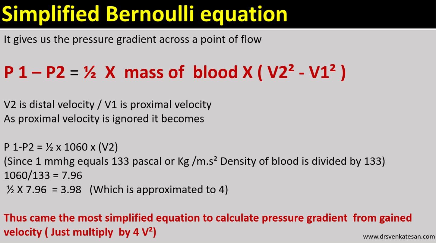 modified simplified bernouli equation doppler pressure gradient mass density velocity drsvenkatesan madras medical college echocardiography 2 tr jet lvot gradient