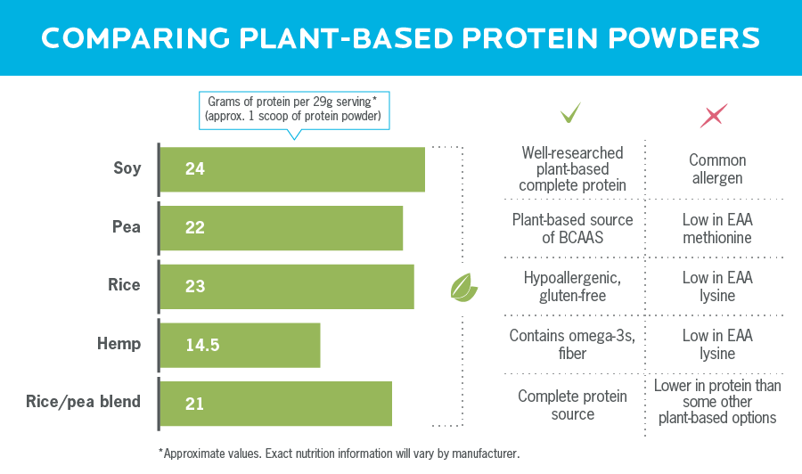 A chart comparing different plant-based protein sources found in protein powder.