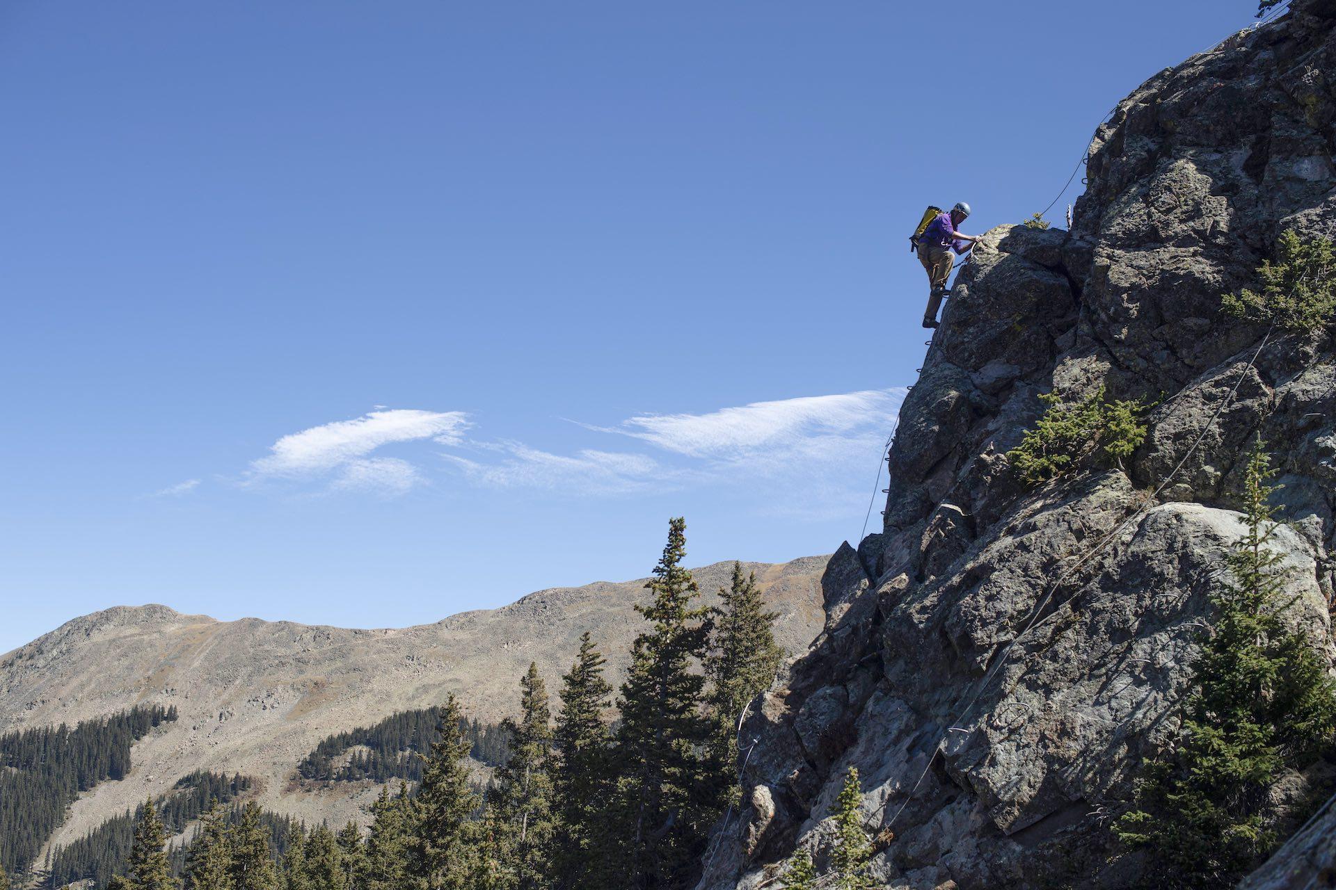 Taos Ski Valley Via Ferrata climb