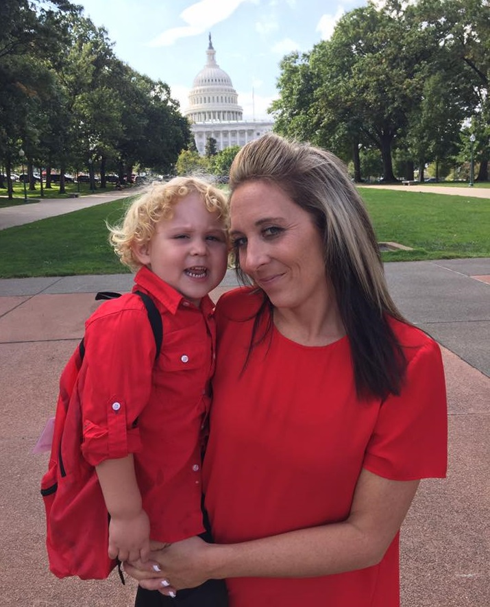 Ashley McGarrah with her son Jaxon at last year's Rally for Medical Research on Capitol Hill. (Photo courtesy of Ashley McGarrah)