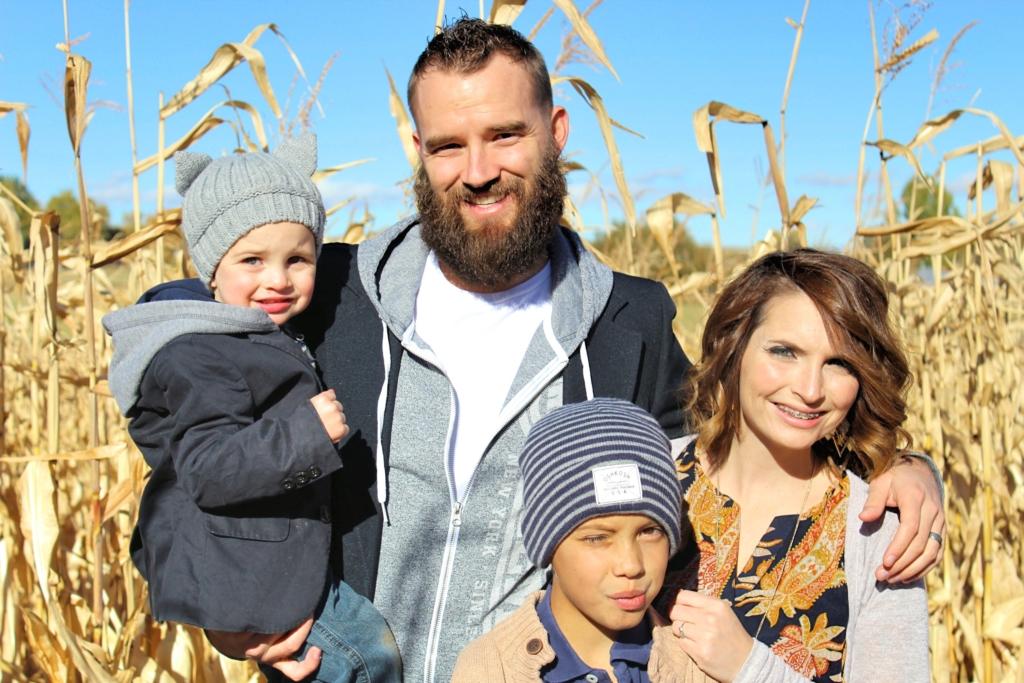 Kimarie Hugus with, from left, her son Corbin, husband Ryan and son Ezekiel. (Photo courtesy of Kimarie Hugus)