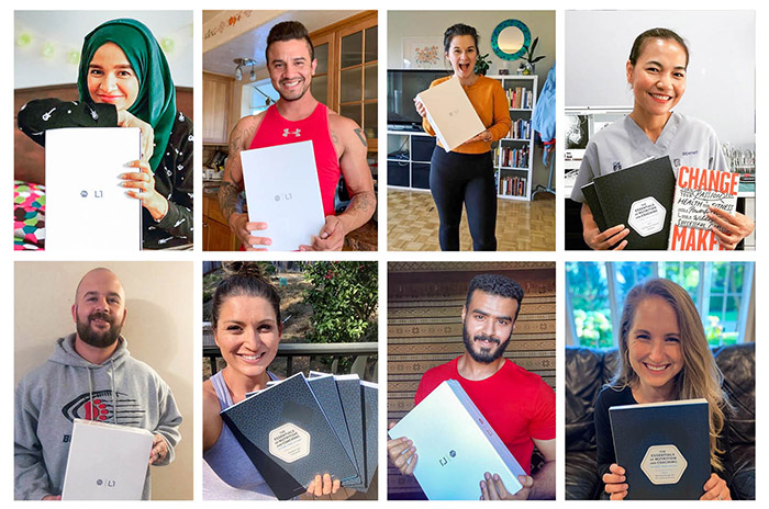 Collage of nine students holding the precision nutrition level 1 certification textbook.