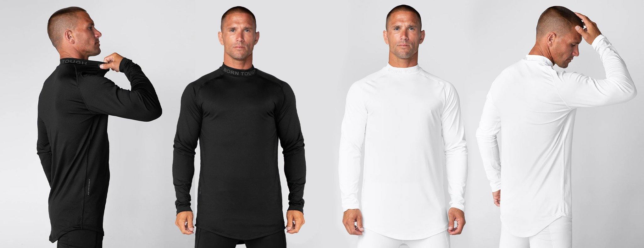 Born Tough Mock Neck Long Sleeve Compression Shirt for Men