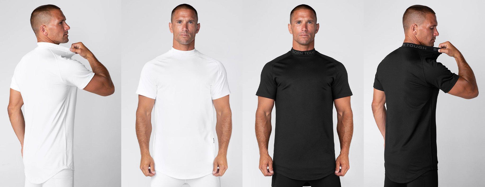 Born Tough Mock Neck Short Sleeve Compression Shirt for Men