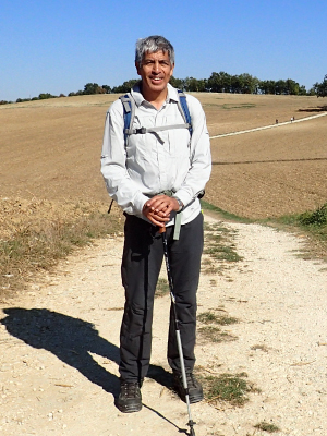 Heart disease survivor Ray Rivera during a 200-mile walk in France in 2016. (Photo courtesy of Ray Rivera)