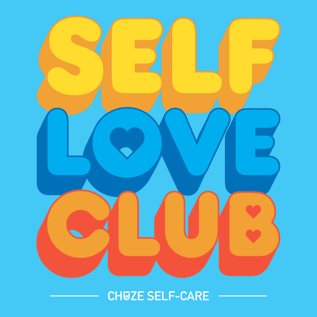 """A blue square illustration that says """"Self Love Club"""" in yellow, blue, and orange bubble letters."""