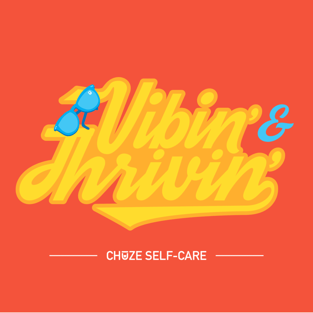 """An orange illustration that says """"Vibin' & Thrivin'"""" in retro yellow letters"""
