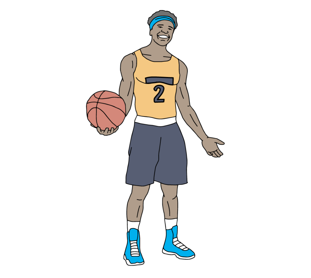 A young athlete holding a basketball.
