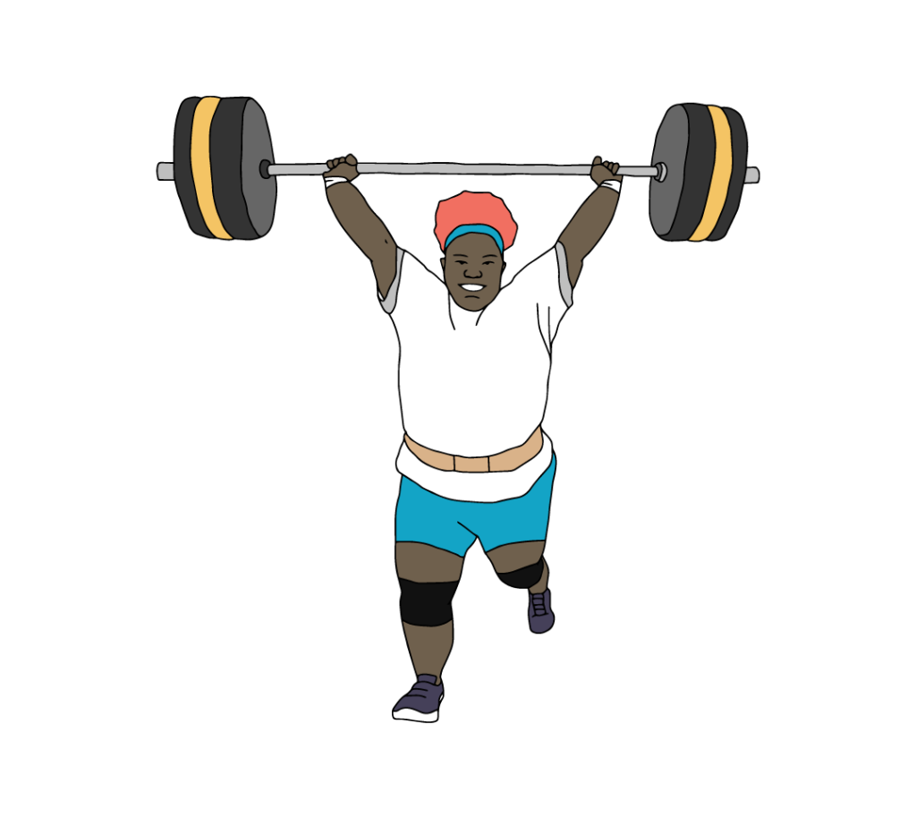A Black female powerlifting athlete holding a barbell above her head.