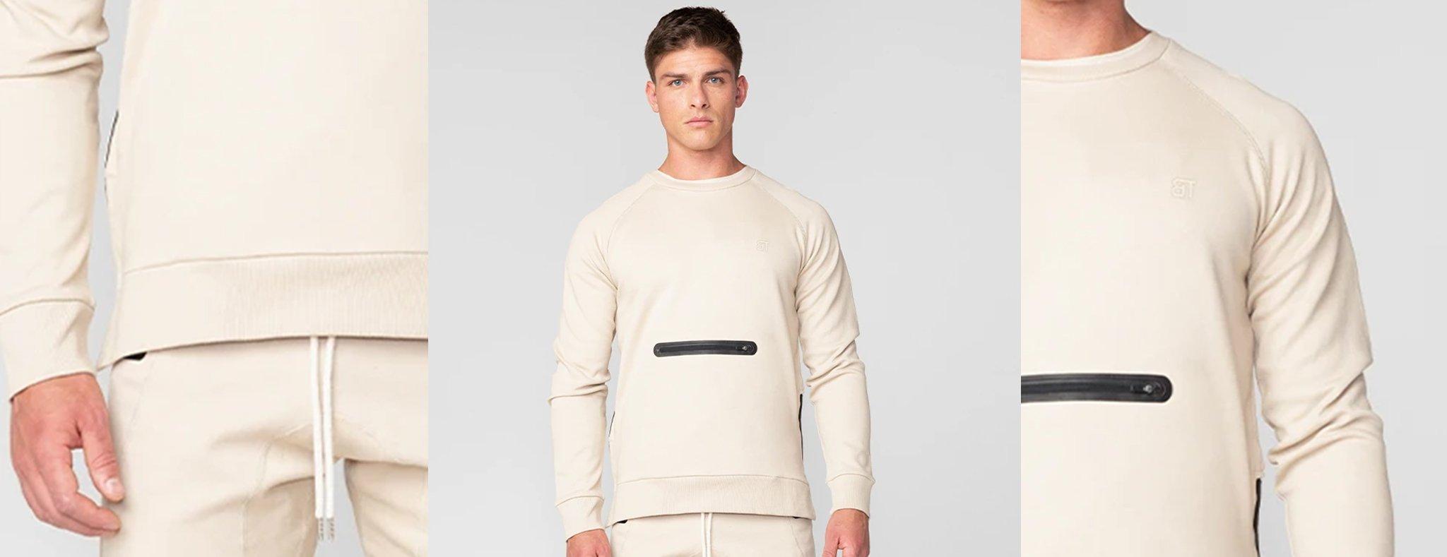Born Tough Men Side-Zip Drop Pocket Crewneck Shirt