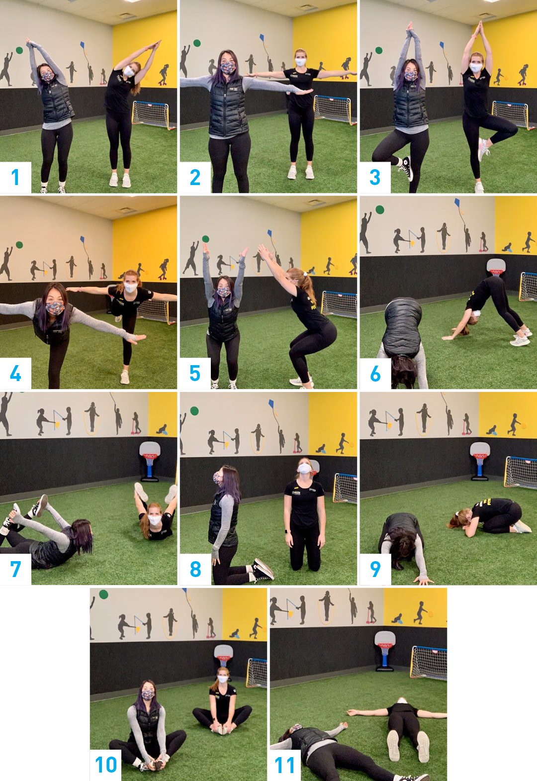 A collage of images showing examples of each numbered yoga move