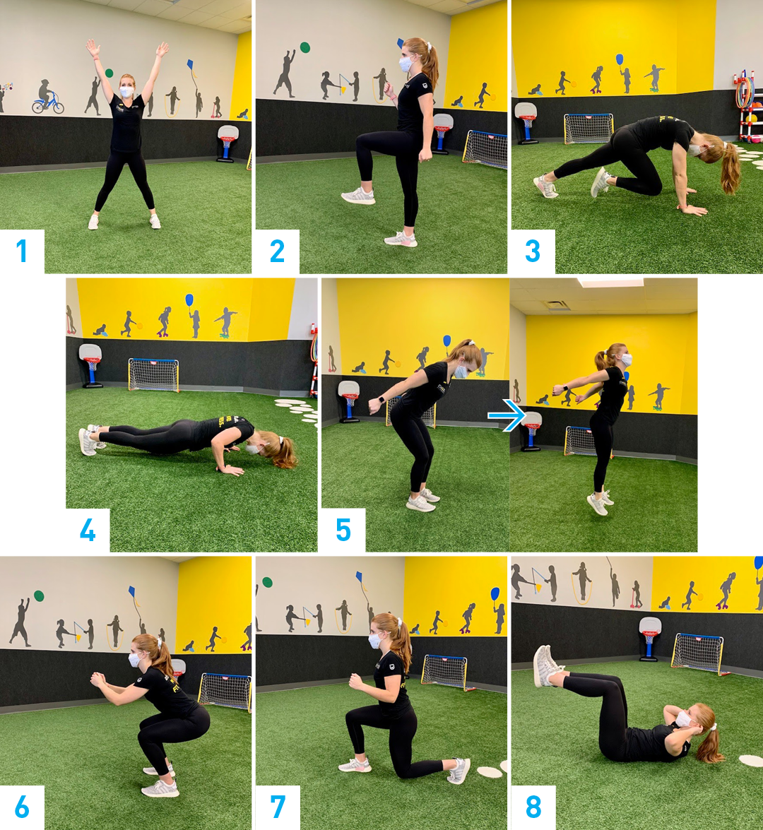 A collage of images showing examples of each numbered workout move