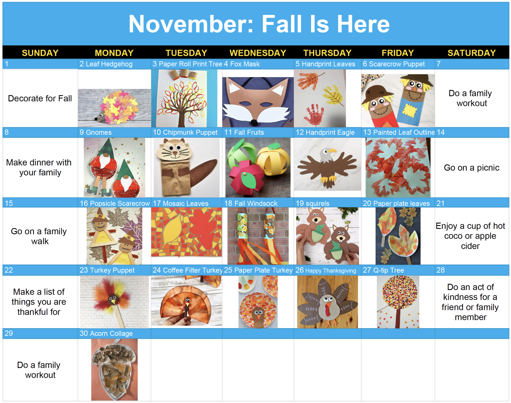A calendar of November 2020 showing different crafts to do each day