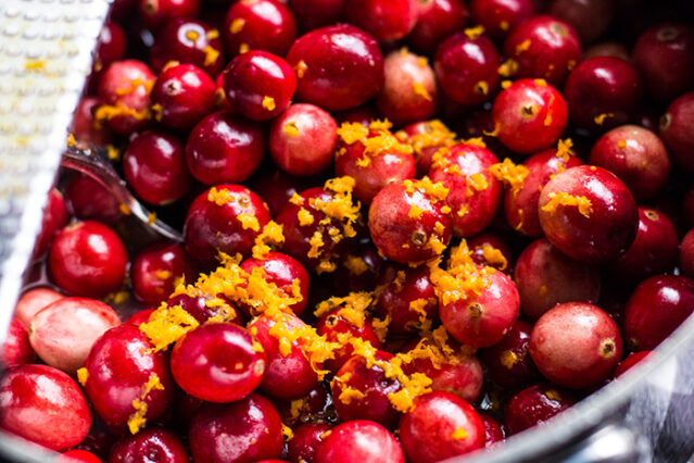 cranberry sauce ingredients in a pot