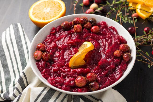 bowl of cranberry sauce using a no sugar recipe