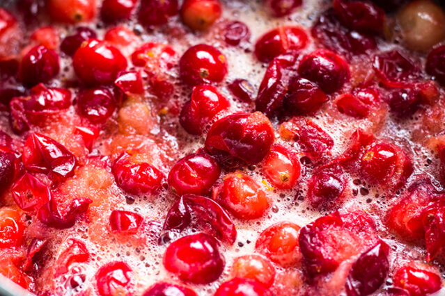 cranberries simmering for cranberry sauce