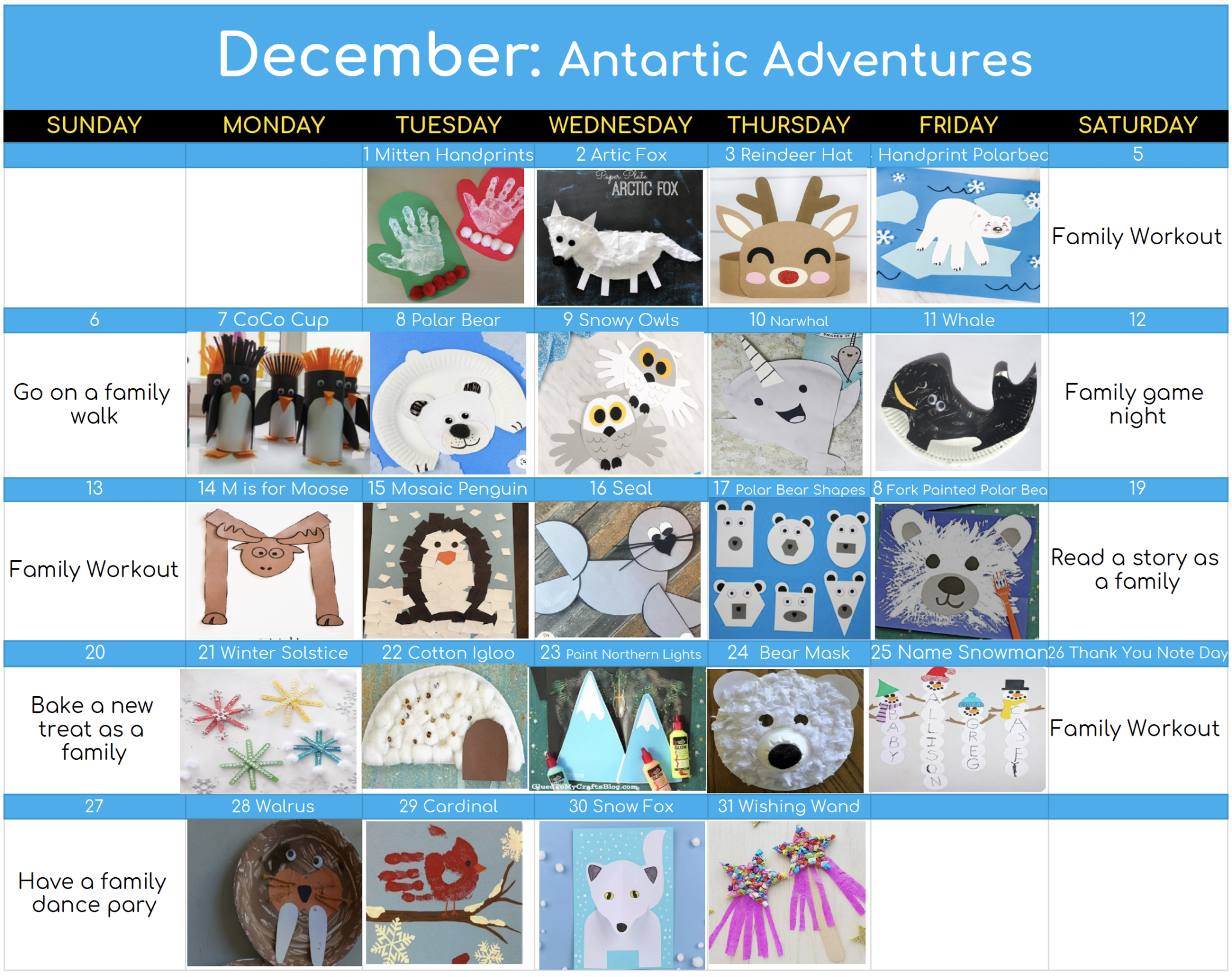 A calendar of December 2020 showing different crafts to do each day