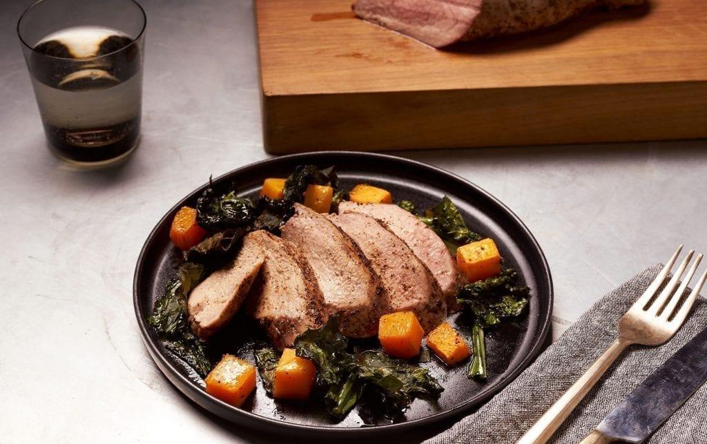 Sheet Pan Roasted Pork, Butternut Squash & Kale