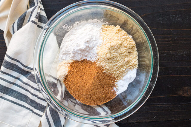 dry ingredients for paleo apple dump cake in a bowl