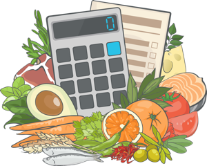 An illustration of the Precision Nutrition Macros Calculator for Calories and Portions surrounded by fruits, grains, fish, and vegetables.