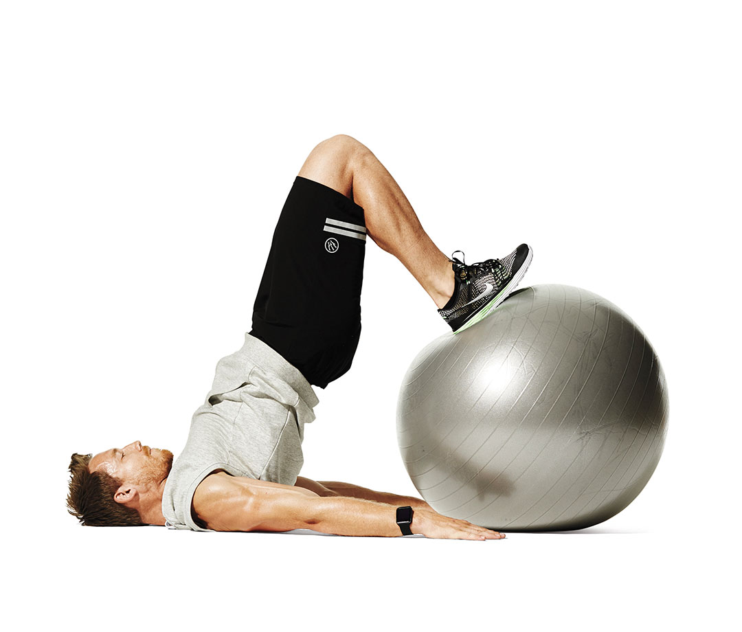 Swiss ball hamstring curl