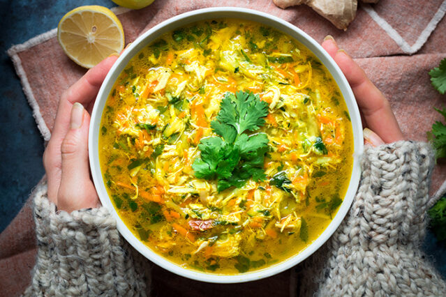 shredded vegetables for ginger turmeric chicken soup