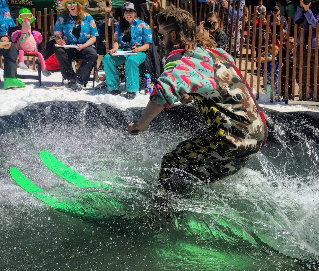 Paulsen pond skimming in Taos, New Mexico
