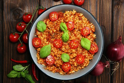 Tangy tomato rice with a twist of basil