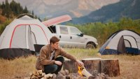 Car camping in mountains