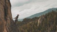 Drew Smith rock climbing