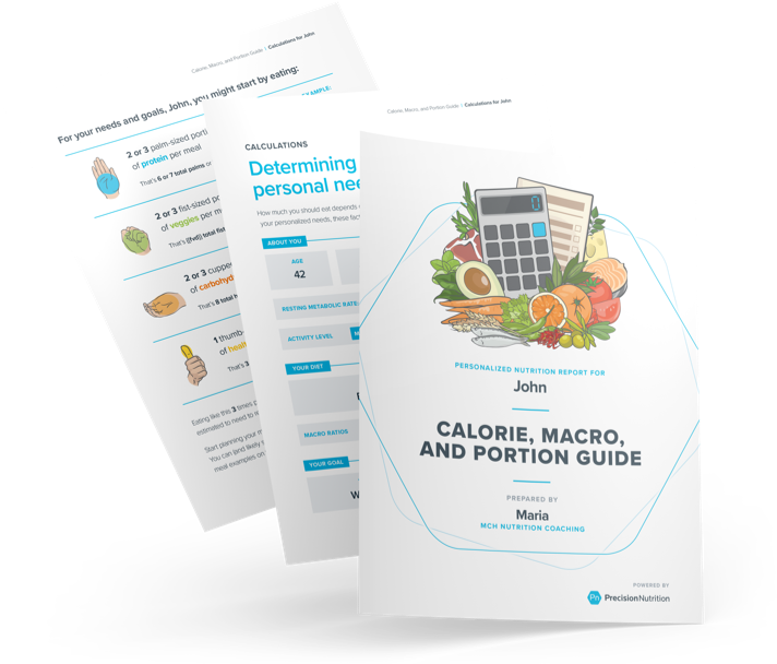 Sample pdfs from the calorie, macro, and portion guide.