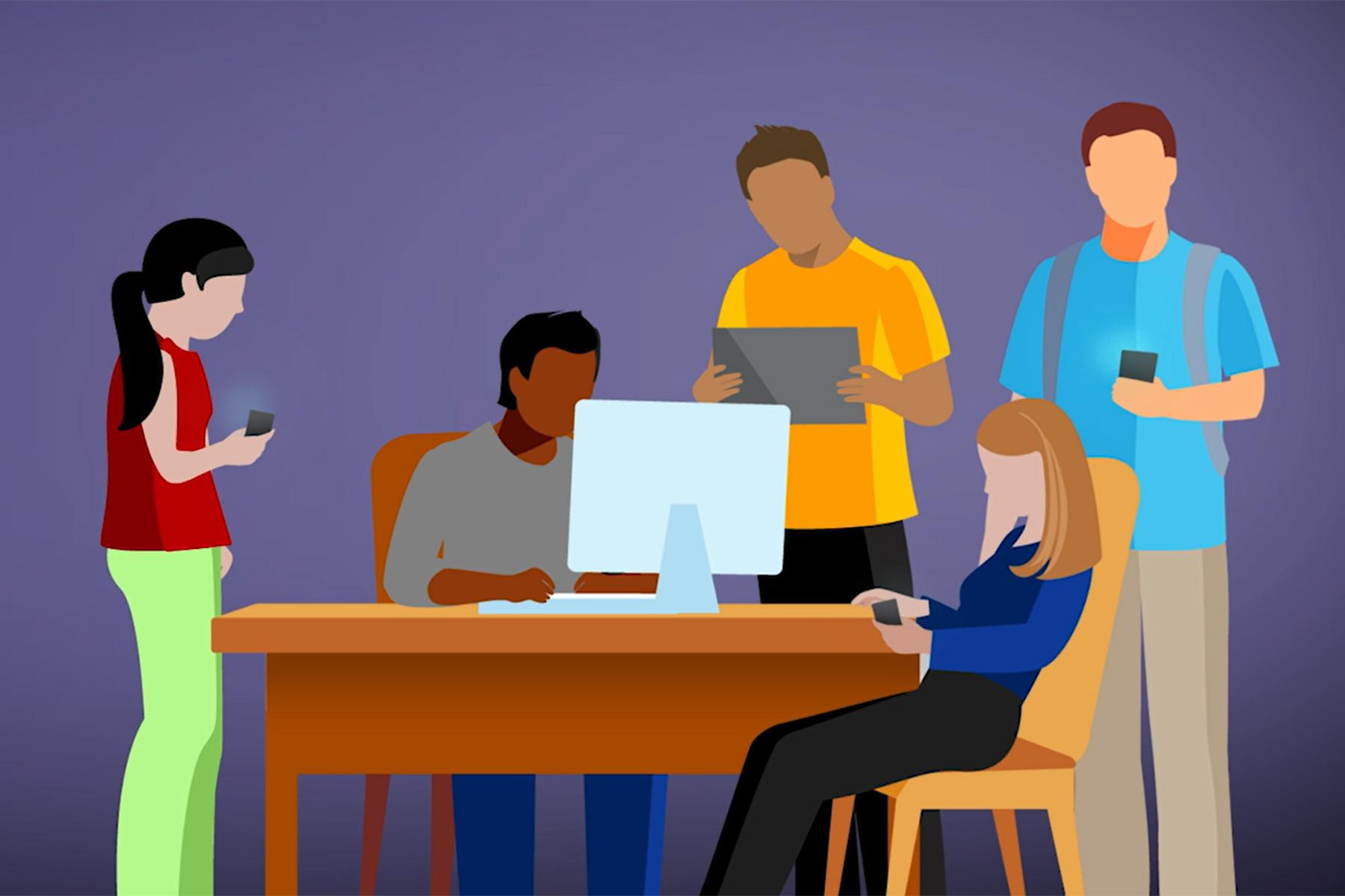 teens looking at screens