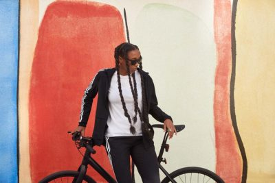 woman next to her bike