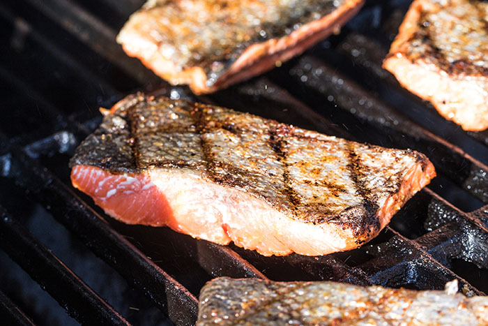 salmon on the grill skin side up